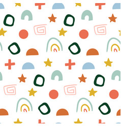 hand drawn abstract pattern for kids seamless vector image