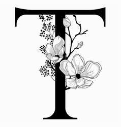 Hand drawn floral uppercase t monogram and vector