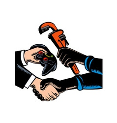 Hands barter plumbing gamer game controller vector
