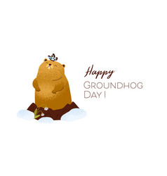 happy groundhog day inscription on card with cute vector image