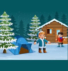 happy kids to wear winter clothes and play in fron vector image