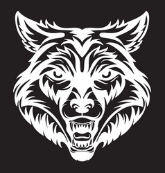 head mascot wolf isolated on black vector image