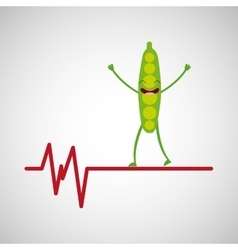 Healthy pea heart icon background vector