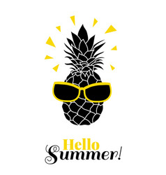 Hello summer pineapple wearing colorful vector
