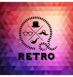 Hipster theme label background made of triangles vector