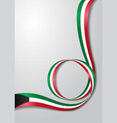 kuwaiti flag wavy background vector image