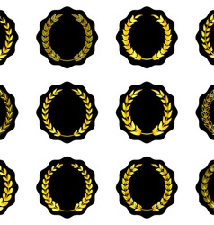 Labels with golden laurel wreaths vector image