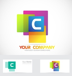 Letter c colors square logo vector