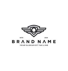 Letter o shield wing logo design concept vector