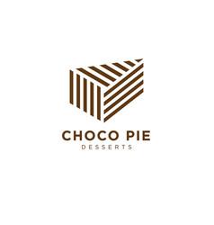 Logo choco pie bakery fresh pastry chocolate vector