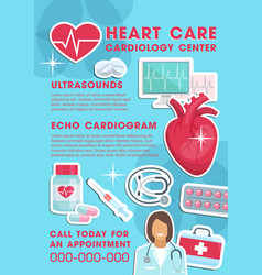 Medical heart care cardiology clinic poster vector
