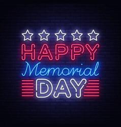 memorial day memorial day neon sign vector image