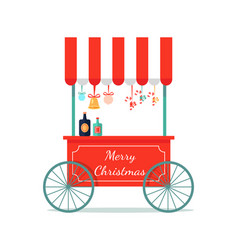 Merry christmas congratulation booth with sweets vector