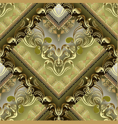 Modern ornate gold baroque 3d seamless pattern vector