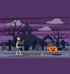 mystic mysterious landscape skeleton character vector image