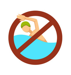 no swimming sign swimmer in water restriction or vector image