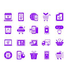 Online shop color silhouette icons set vector
