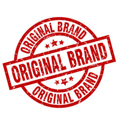 Original brand round red grunge stamp vector