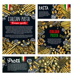 Pasta italian food poster of spaghetti or macaroni vector