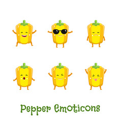 pepper smiles cute cartoon emoticons emoji icons vector image