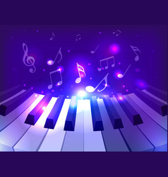 piano keys notes and sparkles for your d vector image