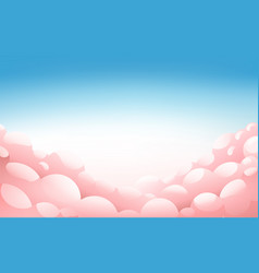 pink fluffy clouds in blue sky at sunset vector image