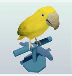 polygonal yellow-green parrot on a stand vector image