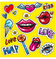 pop art comics fashion patch badges stickers love vector image