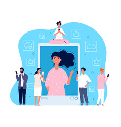 posting selfie people viewing network photo at vector image