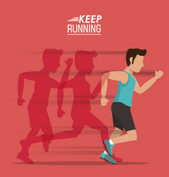 Red background of poster keep running with male vector