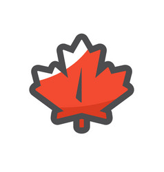 Red maple leaf icon cartoon vector