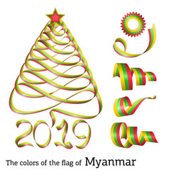 Ribbon christmas tree colors of myanmar vector