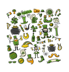 saint patrick day set icons sketch for your vector image
