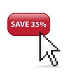 Save 35 Button Click vector