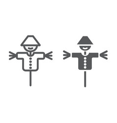 Scarecrow line and glyph icon agriculture and vector