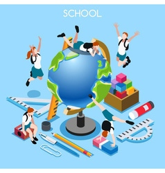 School Set 02 People Isometric vector