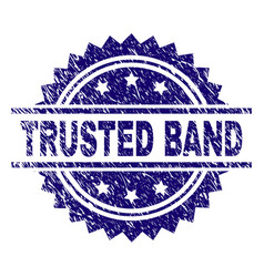 Scratched textured trusted band stamp seal vector