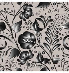 Seamless gray floral pattern vector image