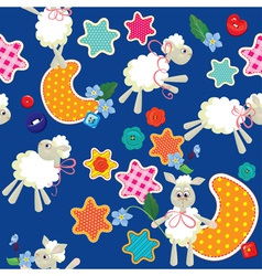 Seamless pattern - sweet dreams - sheep toys stars vector image