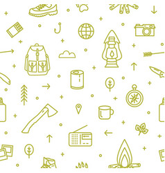 Seamless pattern with hiking and touristic vector