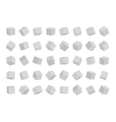 set cubes in different angles view isolated on vector image