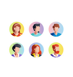 set faces icons vector image