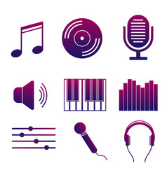 set of icons of music and songs modern collection vector image vector image