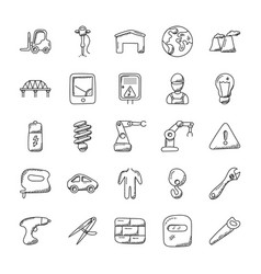 Set of industrial doodle icons vector