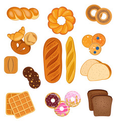 Set various bakery products on white vector