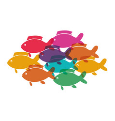 Shoal fish animals isolated icon vector