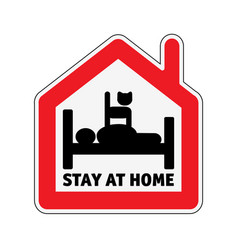 Sign icon stay home men in bed with cat vector