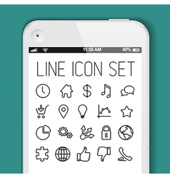 Simple Modern thin icon collection for smart phone vector image