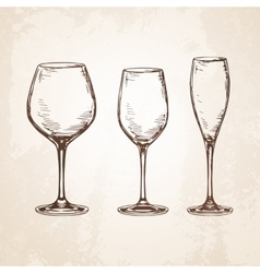 Sketch set of empty wineglasses vector