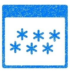 Snowflakes Calendar Page Grainy Texture Icon vector